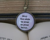 Vintage Style Hunger Games Glass Cabochon Pendant Necklace May The Odds