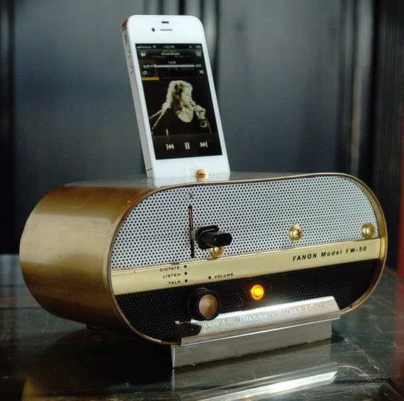 ipod iphone charging station with speakers from vintage tube intercom