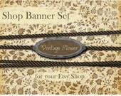 Etsy Shop Banner - Vintage Flower set - banners, profile picture, avatar, reserved & special order
