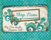 Etsy Shop Banner - Turquoise Flourish Banner Set - banners, profile picture, avatar, reserved & special order