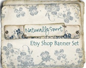 Etsy Shop Banner - Naturally Sweet in Shabby Blue - banners, profile picture, avatar, reserved & special order