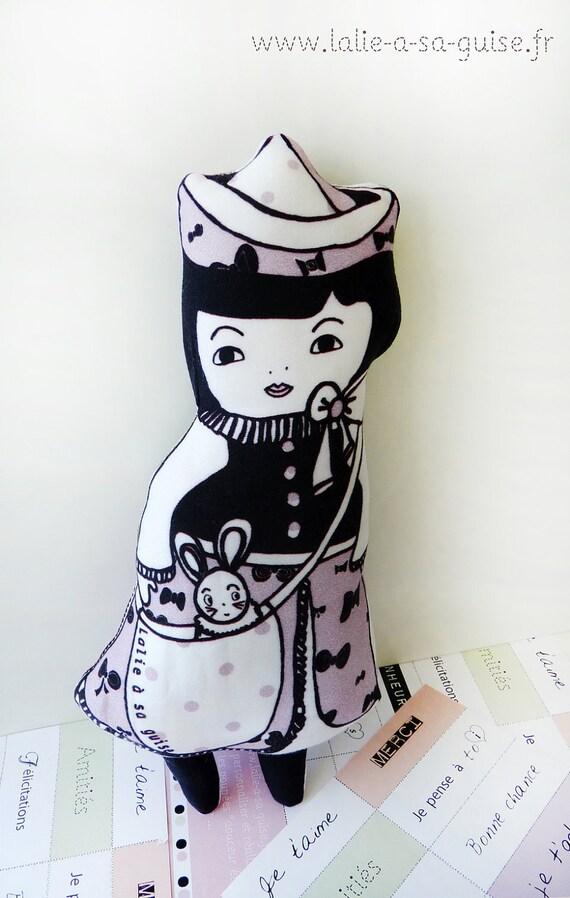 """gift Box organic cotton  art doll named """"poupée mots doux"""" parma"""