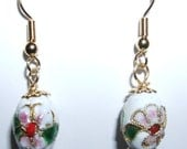 Cloisonne white enamel with flower earrings. 22kt gold plated fishhook earrings.