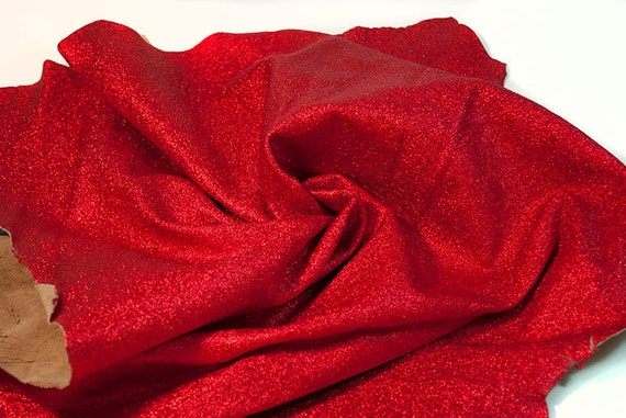 RESERVED to Myrtille - lambskin sparkly metallic red 5 ft - light weight COD123