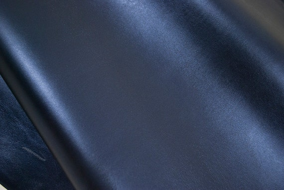 Leather hide metallic blue navy SPARKLY Lambskin 6 ft square feet - light weight COD194