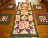 Hand-Quilted Table Runner and 4 Mug Rugs