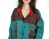 vtg 80s SOUTHWEST patchwork jean jacket