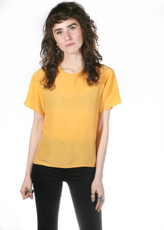 80s SILK mustard yellow spring BLOUSE top shirt