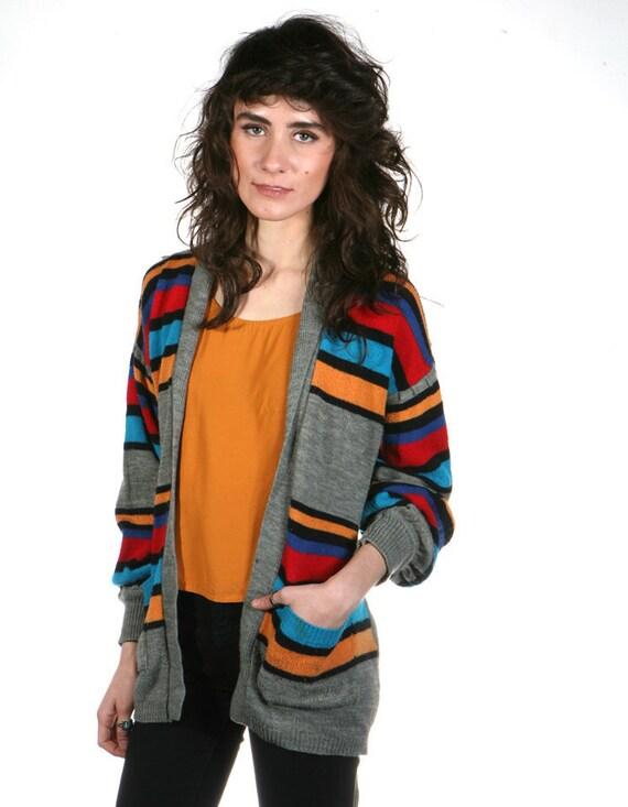 vtg SOUTHWEST cardigan sweater MULTI color bright spring tie waist top
