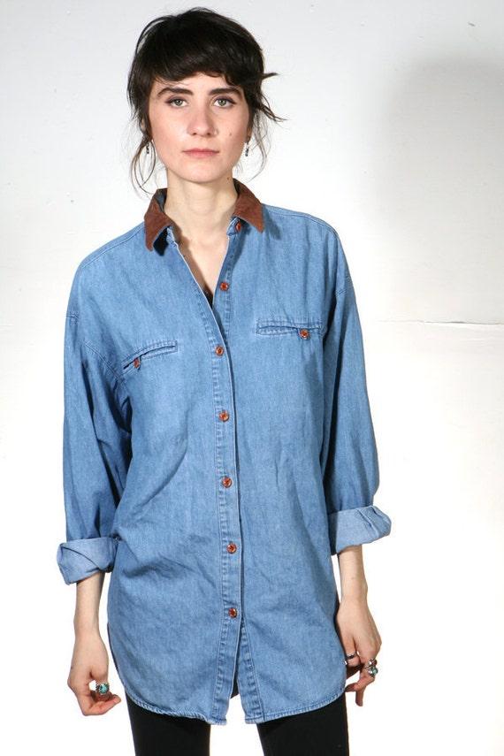 vtg 90s dark blue DENIM oxford button up blouse shirt with SUEDE collar