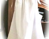 NEW PILLOWCASE DRESS, White Cotton Border Eyelet with White Satin Ribbon, Size 4