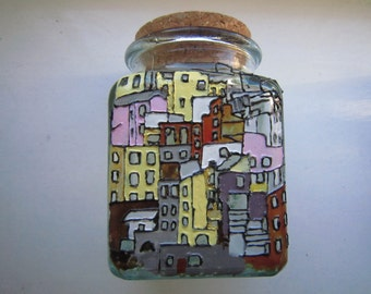 Hand painted houses on glass jar with cork lid