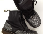 90's Doc Martens, Steel Toe, barely worn, Vintage, Rhinestoned Doc's, Rhinestoned Boots