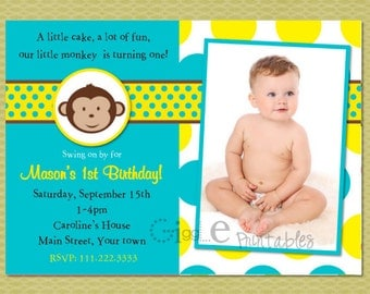 Boy Mod Monkey Birthday Invitation - FREE thank you card included