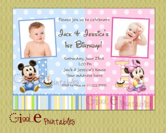 Baby Mickey Mouse Minnie Mouse TWIN Birthday Invitation - Birthday invitation cards twins