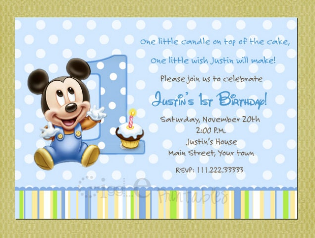 Baby Mickey Mouse Birthday Invitation