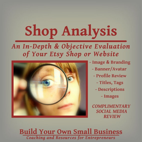 Shop Analysis - In-Depth Objective View of Your Etsy Shop or Website