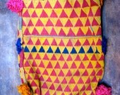 Triangle Pattern Pouch - vintage from India - yellow and red