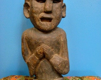Indian Hardwood Carved Statue with Joined Palms - from South India, 1960s