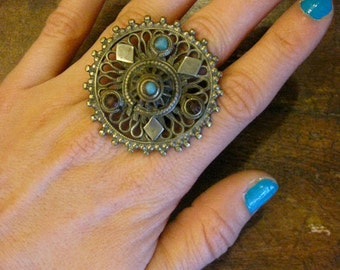 Vintage Moroccan Mandala Ring with Turquoise - size 7