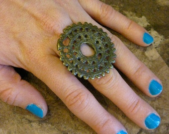 Rustic Tribal Brass Ring from India - size 8