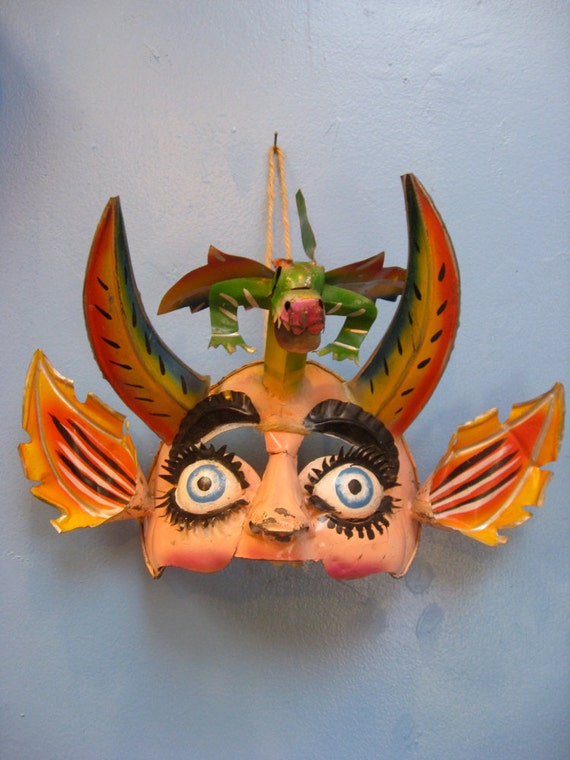 Bolivian Dragon Face Mask Made With Recycled Tin Vintage