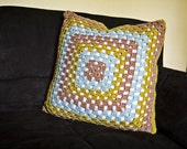 Granny Square Throw Pillow  -   Chartreuse, Sky Blue, and Taupe with Insert - 20in X 20in Crochet