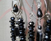 Chandelier Earrings Silver/Black