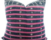 Vintage Kantha Quilt Pillow Cover - 22 x 22 Navy and Pink Stripes