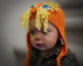 Lorax Orange Hat Crochet PDF Pattern - Baby, Child, Teen, and Adult sizes. SALE - Buy 2 patterns, Get 1 FREE.