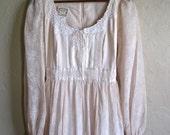 Vintage Gunne Sax Dress Sheer Floral Size Medium 4- 8 Floaty & light Bohemian Gypsy Maxi