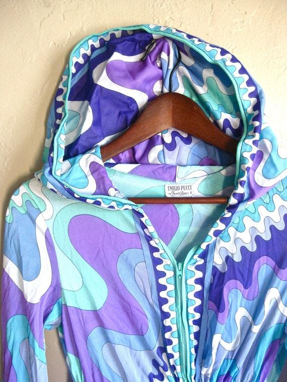 Emilio Pucci 70s Goddess Maxi Kaftan Swim Suit Cover up Small Villa Summer Dress Gypsy Summer Retro Aqua Purple