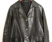 Vintage Black Hand Stiched Leather Jacket Size S/M