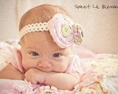 Handmade rosette flower headband