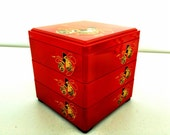 Japanese Authentic Bento Box, three tier, asian design, large size, japanese style lunch box