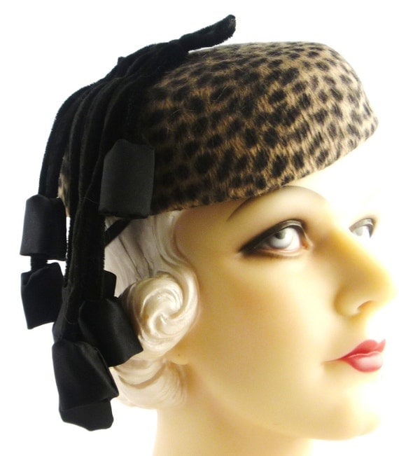 Art Deco 1930s Leopard Print Velour Fur Felt Pillbox with Black Satin Bells