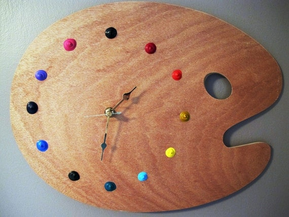 Artist's palette clock-- Great for craft rooms or art lovers