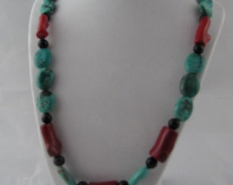 Blue Turquoise Red Coral and Black Glass Necklace Handmade OOAK