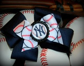 New York Yankees Hair Bow (FREE bow or flower when you BUY any 3) NY Baby Girl Bow Headband, Photography Prop