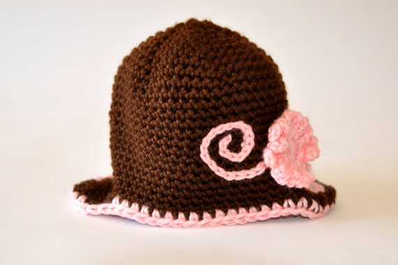 Pink and Brown Baby Girl Newborn Photo Prop Flower Earflap Hat