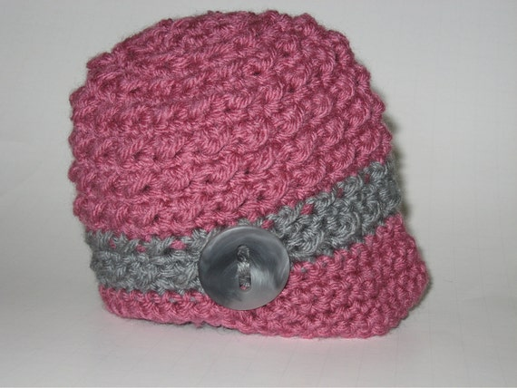 Textured Rose Pink and Gray Newsboy Baby Girl Photo Prop Beanie Hat with Button