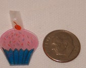 Cupcake with Sprinkles and a Red Cherry Shrinky Dink Art Charm