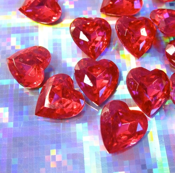 vintage ruby red heart czech glass stones