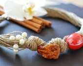 Baltic Amber Necklace, Linen Necklace, Red Ceramic and White Freshwater Pearls, Eco Friendly Jewelry