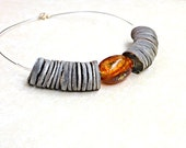 Gold Amber Necklace - Natural Baltic Amber, Sterling Silver Gray Shell Dark Honey Amber Organic