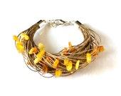 Amber Linen Bracelet - Natural Eco Friendly Baltic Amber Bracelet - Sun Shine Yellow Honey Gift