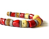 Amber Coral Necklace, Baltic Amber Necklace Natural Gemstone Jewelry Yellow Red Gray Summer fashion RESERVED FOR PEGGY