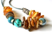Reserved for Suzy Baltic Amber Necklace Turquoise Amber Jewelry, Honey Amber Ocean Blue Teal Beach Gray Rainbow Shell