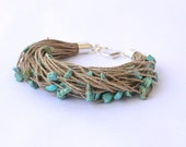 Linen Bracelet with Turquoise Eco Style Blue Teal Bracelet, Christmas Fashion, Fiber Multistrand Beadwork