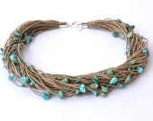 Turquoise Linen Necklace, Teal Blue Aqua Bridesmaid Gifts, Summer Fashion Jewelry, Beach Jewelry